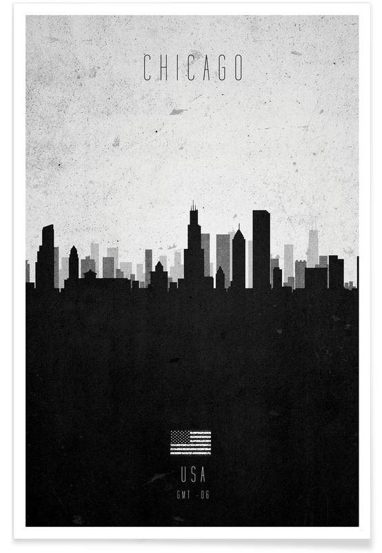 Noir & blanc, Skylines, Chicago Contemporary Cityscape affiche