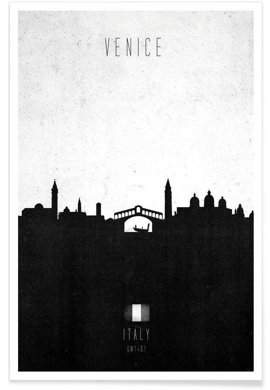 Noir & blanc, Skylines, Venise, Venice Contemporary Cityscape affiche