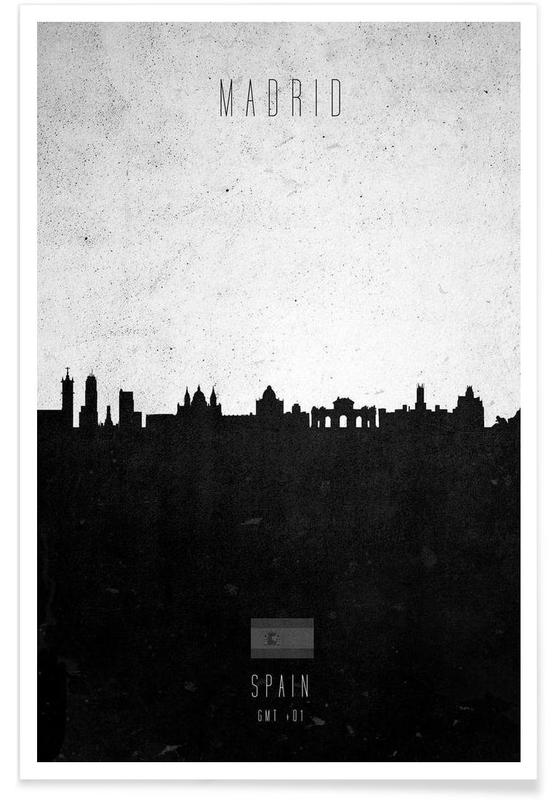 Noir & blanc, Skylines, Madrid, Madrid Contemporary Cityscape affiche