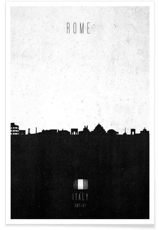 Skylines, Black & White, Rome, Rome Contemporary Cityscape Poster