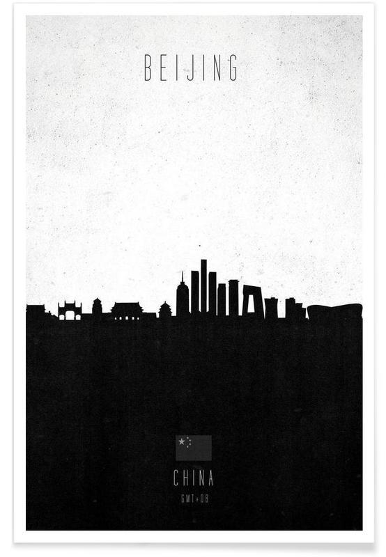 Noir & blanc, Skylines, Beijing Contemporary Cityscape affiche