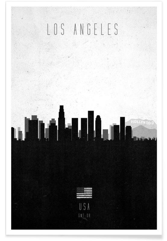Los Angeles, Horisonter, Sort & hvidt, Los Angeles Contemporary Cityscape Plakat