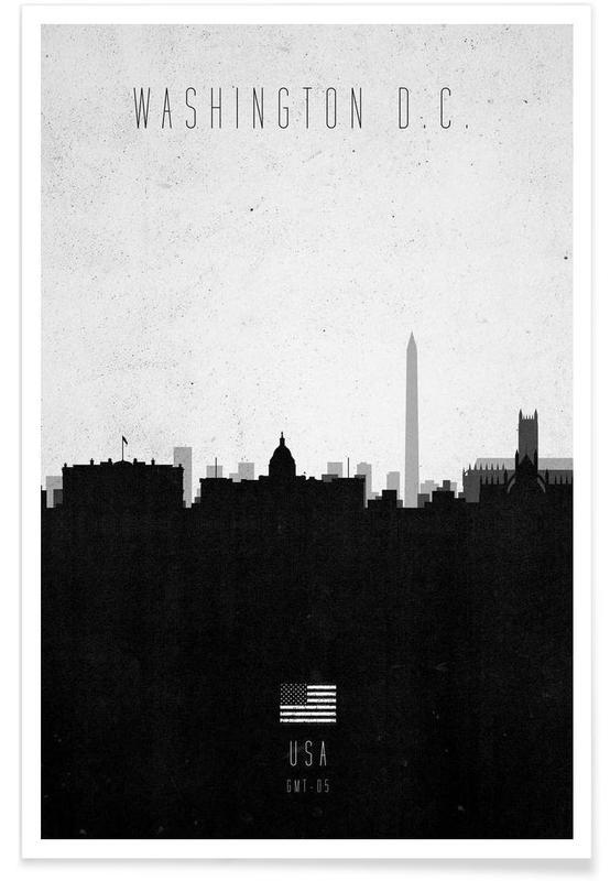 Noir & blanc, Skylines, Washington DC Contemporary Cityscape affiche