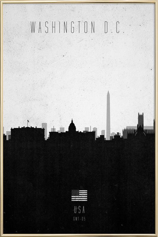 Washington DC Contemporary Cityscape Poster in Aluminium Frame
