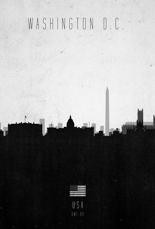 Washington DC Contemporary Cityscape Aluminium Print
