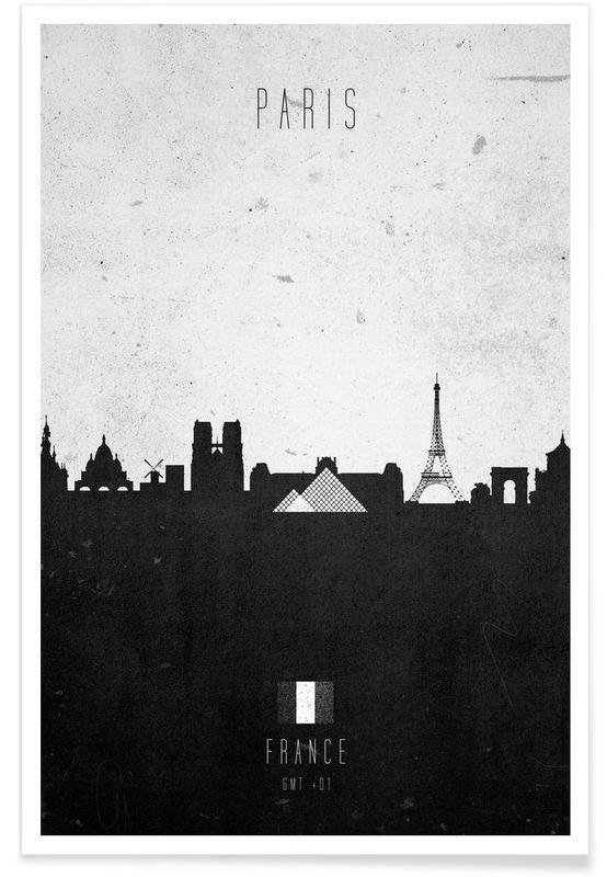 Paris, Noir & blanc, Skylines, Paris Contemporary Cityscape affiche