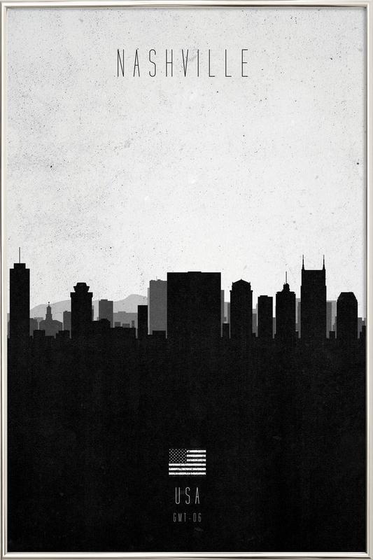 Nashville Contemporary Cityscape poster in aluminium lijst