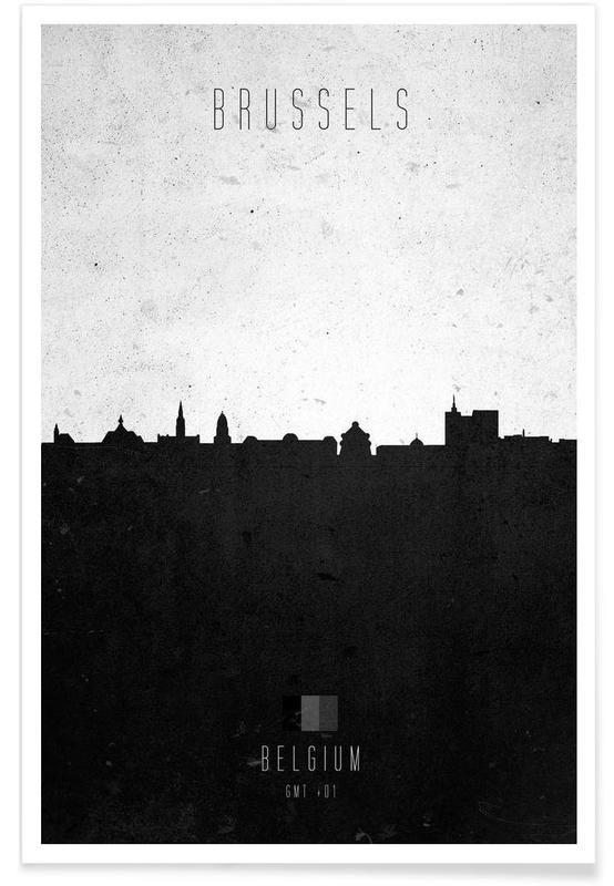 Noir & blanc, Skylines, Brussels Contemporary Cityscape affiche