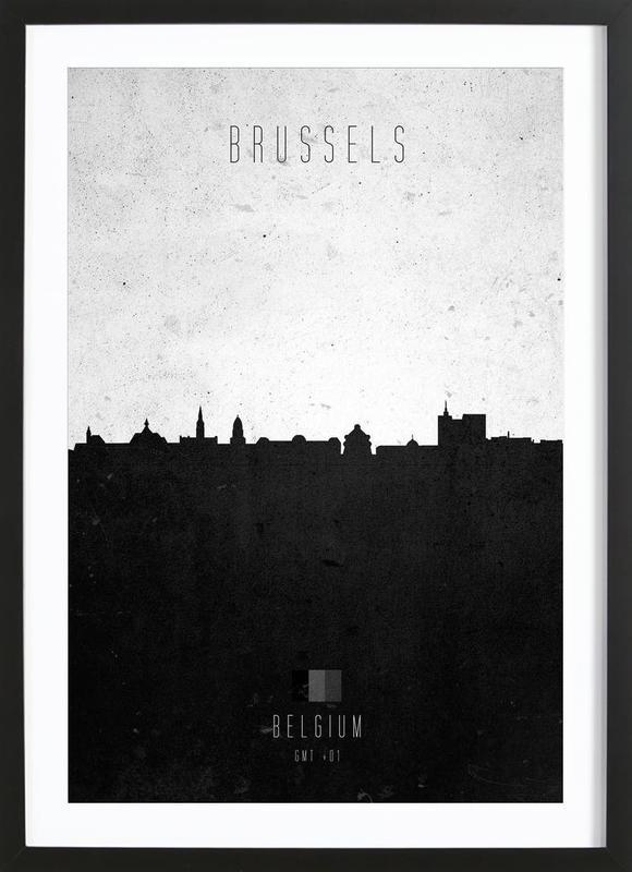 Brussels Contemporary Cityscape affiche sous cadre en bois