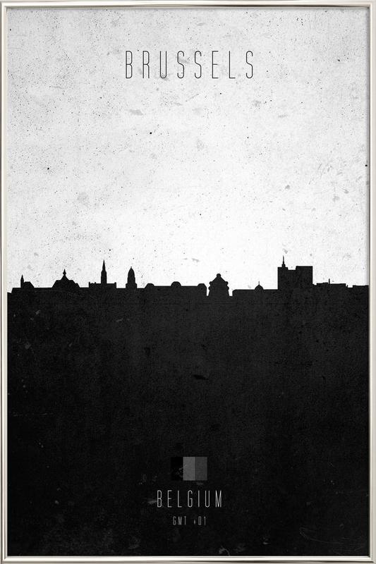 Brussels Contemporary Cityscape poster in aluminium lijst