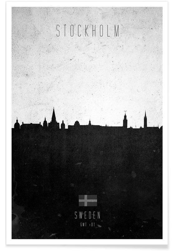 Stockholm, Noir & blanc, Skylines, Stockholm Contemporary Cityscape affiche