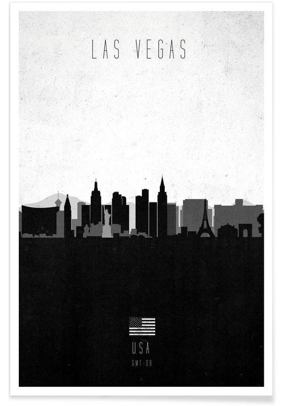 Las Vegas, Noir & blanc, Skylines, Las Vegas Contemporary Cityscape affiche