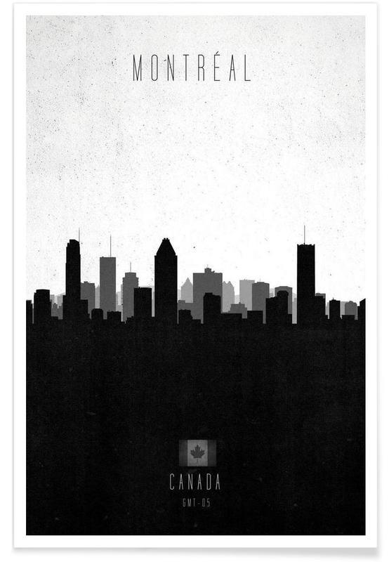 Noir & blanc, Skylines, Montreal Contemporary Cityscape affiche