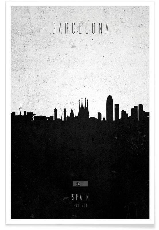 Horisonter, Sort & hvidt, Barcelona, Barcelona Contemporary Cityscape Plakat