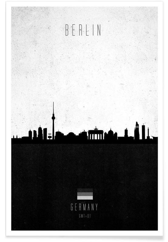 Horisonter, Sort & hvidt, Berlin, Berlin Contemporary Cityscape Plakat