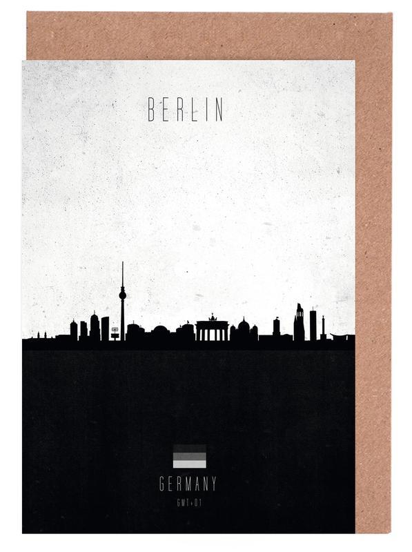Berlin, Skylines, Black & White, Berlin Contemporary Cityscape Greeting Card Set