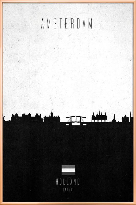Amsterdam Contemporary Cityscape Poster in Aluminium Frame