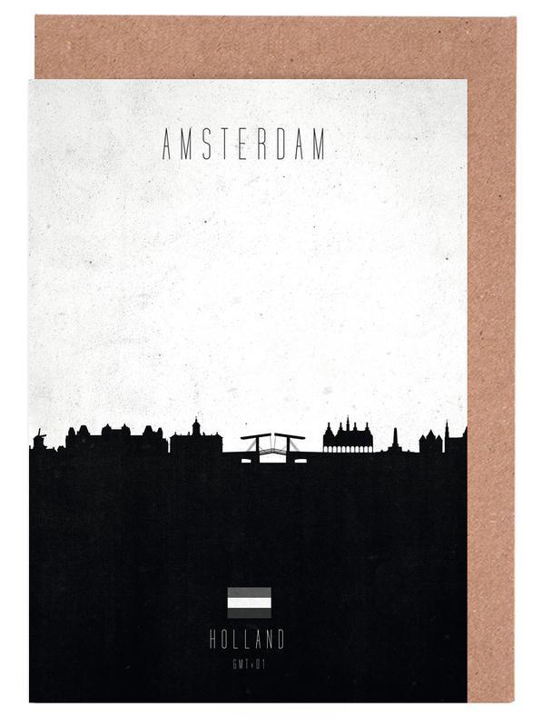 Skylines, Noir & blanc, Amsterdam, Amsterdam Contemporary Cityscape cartes de vœux