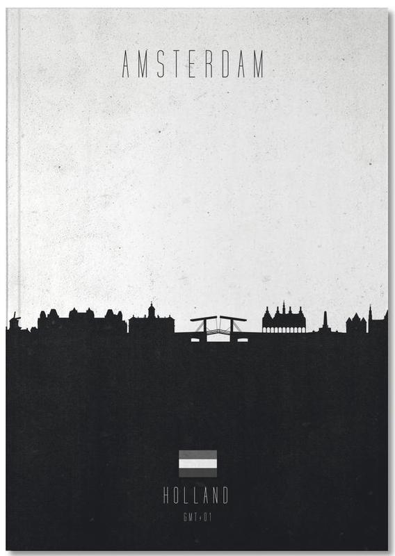 Skylines, Amsterdam, Schwarz & Weiß, Amsterdam Contemporary Cityscape Notebook