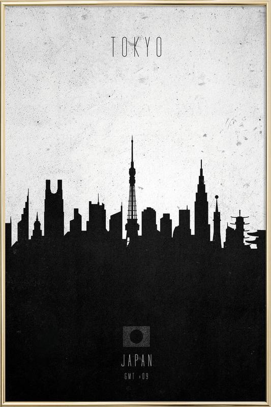 Tokyo Contemporary Cityscape Poster in Aluminium Frame