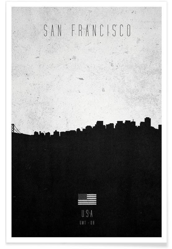 Skylines, Black & White, San Francisco, San Francisco Contemporary Cityscape Poster