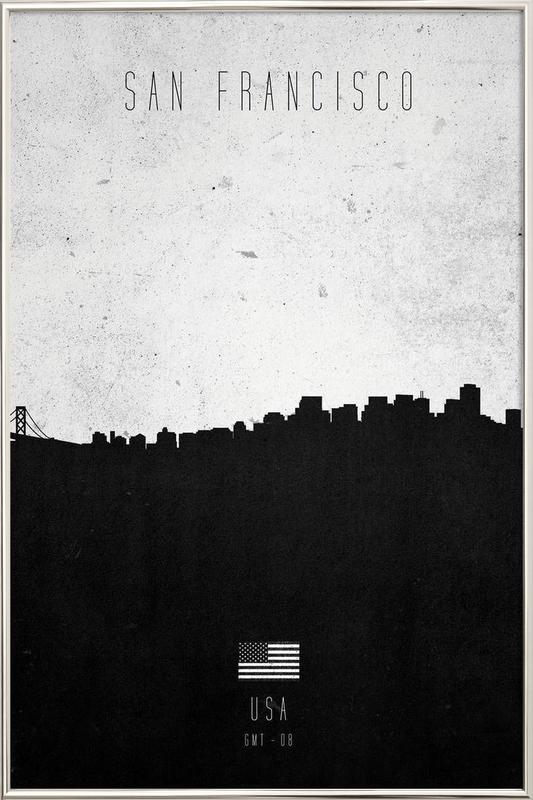 San Francisco Contemporary Cityscape Poster in Aluminium Frame