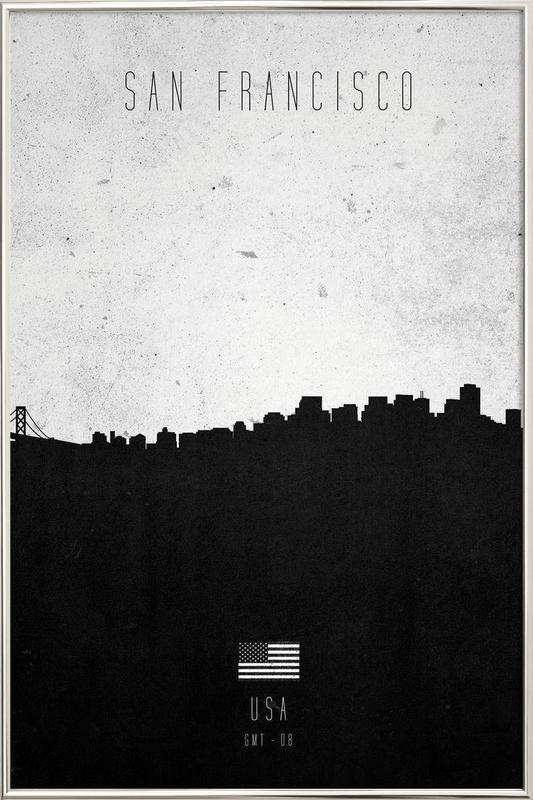San Francisco Contemporary Cityscape poster in aluminium lijst