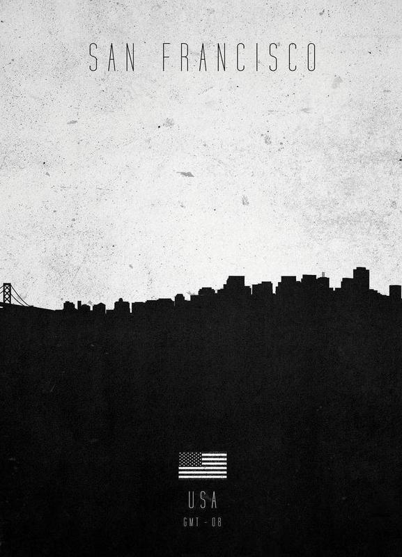 San Francisco Contemporary Cityscape canvas doek