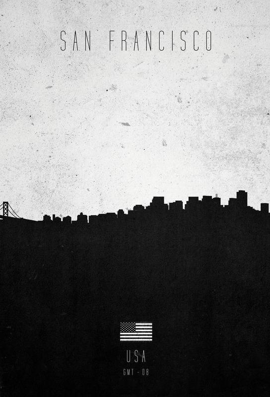 San Francisco Contemporary Cityscape Aluminium Print