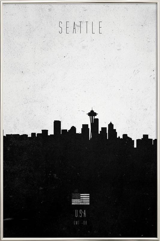 Seattle Contemporary Cityscape Poster in Aluminium Frame