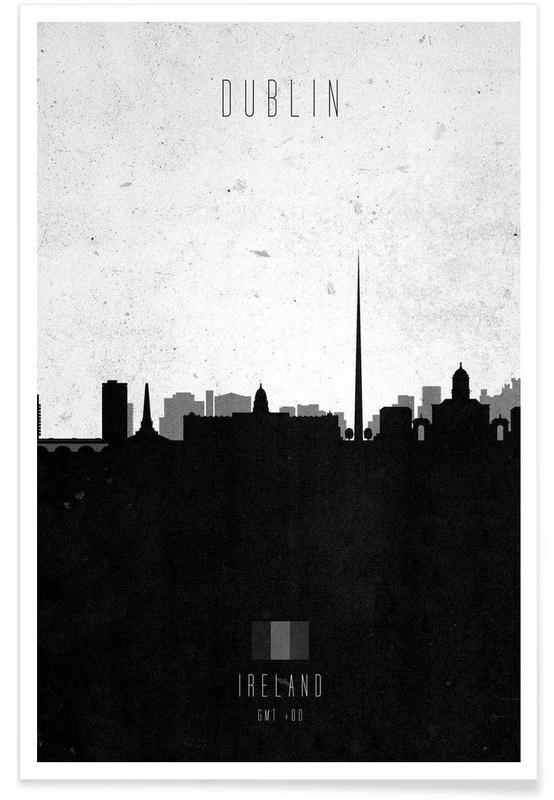 Horisonter, Sort & hvidt, Dublin, Dublin Contemporary Cityscape Plakat