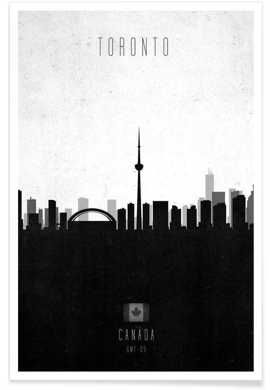 Noir & blanc, Skylines, Toronto Contemporary Cityscape affiche