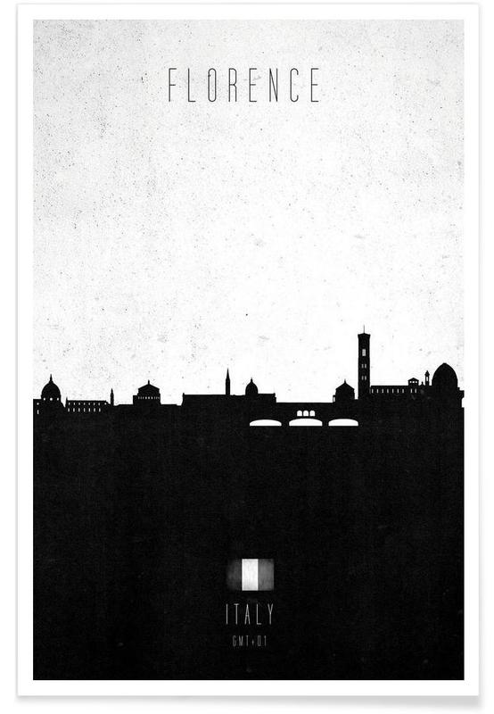 Sort & hvidt, Horisonter, Florence Contemporary Cityscape Plakat