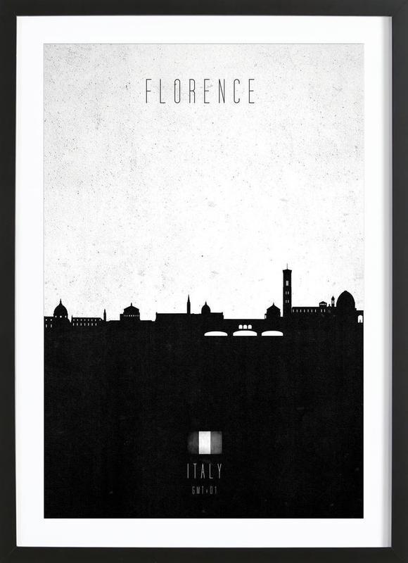 Florence Contemporary Cityscape -Bild mit Holzrahmen