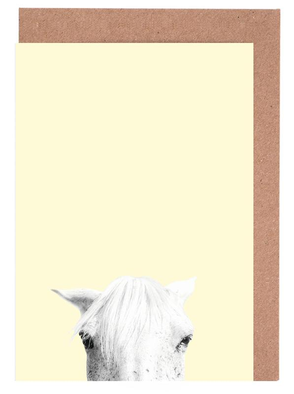 Pferde, Kinderzimmer & Kunst für Kinder, Yellow Horse -Grußkarten-Set