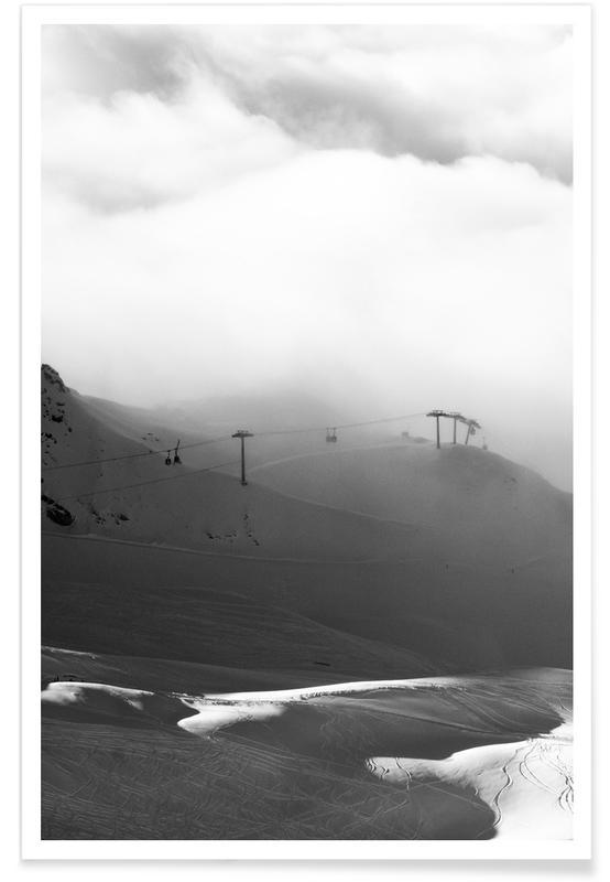Montagnes, Ski & snowboard, Noir & blanc, Above and Beyond affiche