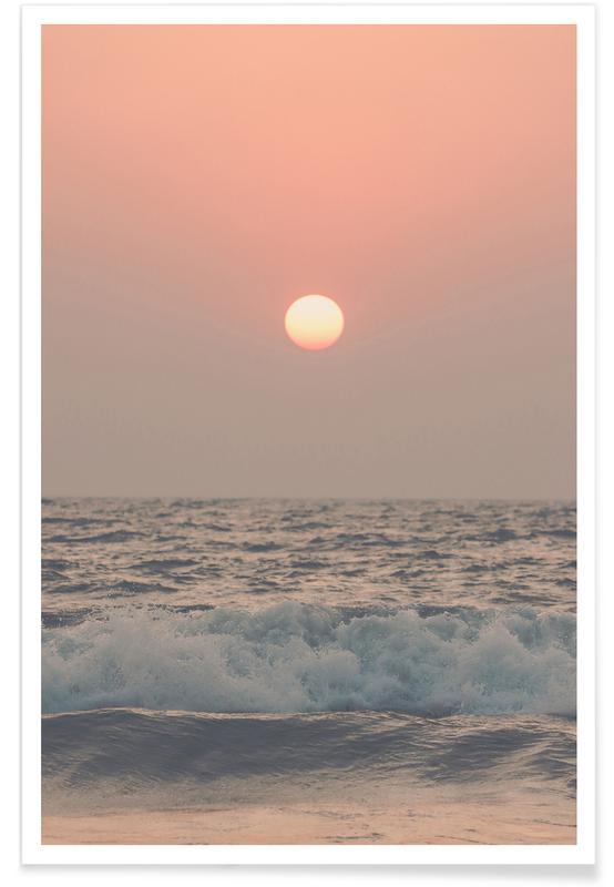 Ocean, Lake & Seascape, Sunsets, Pink Beach Sunset Poster