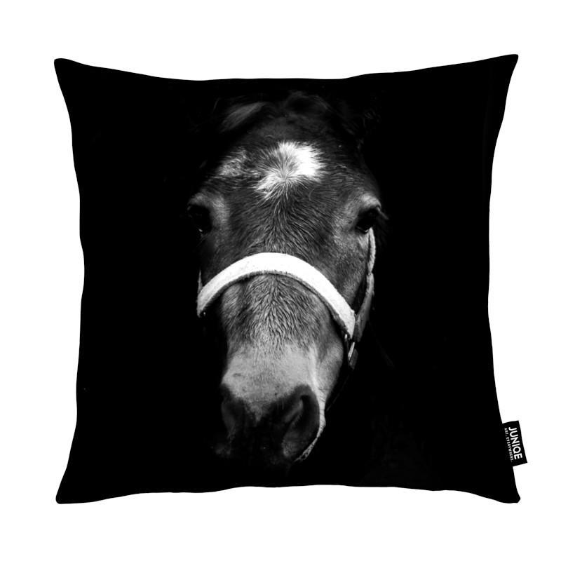 Noir & blanc, Chevaux, Dark Horse coussin