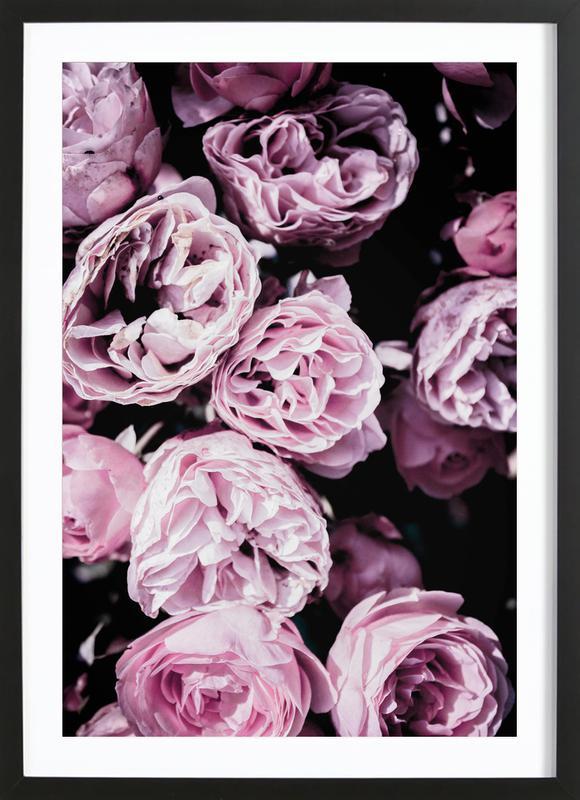 Pink Flowers III affiche sous cadre en bois
