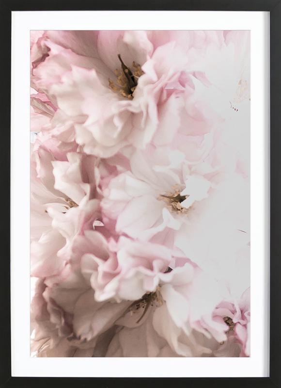 Pink Flowers affiche sous cadre en bois