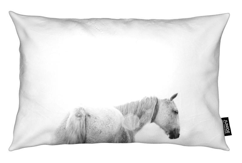 Noir & blanc, Chevaux, Horses Back coussin
