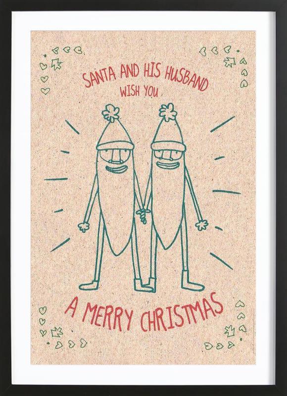Santa & Husband -Bild mit Holzrahmen
