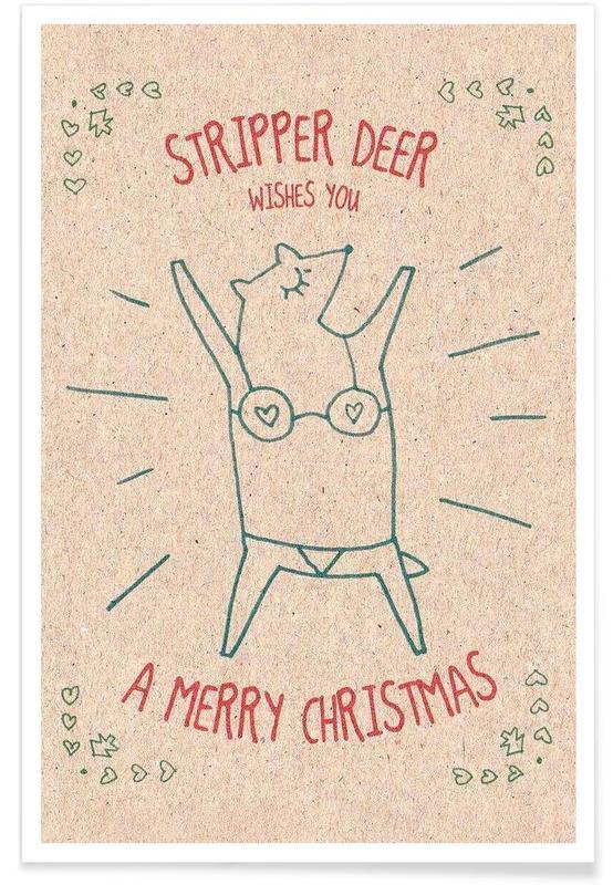 Herten, Grappig, Kerst, Stripper Deer poster