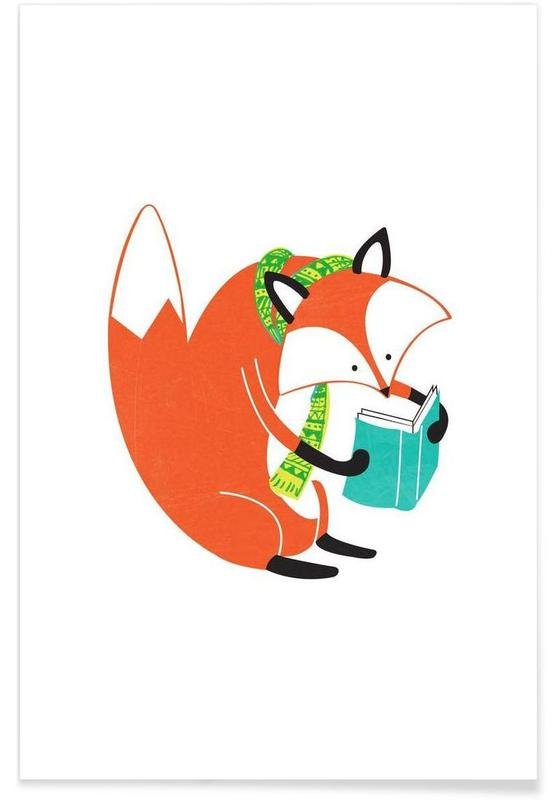 Foxes, Nursery & Art for Kids, Reading Fox Poster