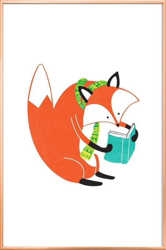 Reading Fox Poster in Aluminium Frame