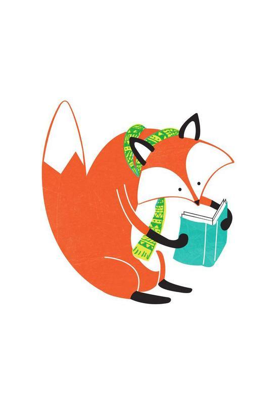 Reading Fox -Acrylglasbild
