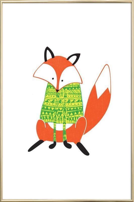 Shirt Fox Poster in Aluminium Frame