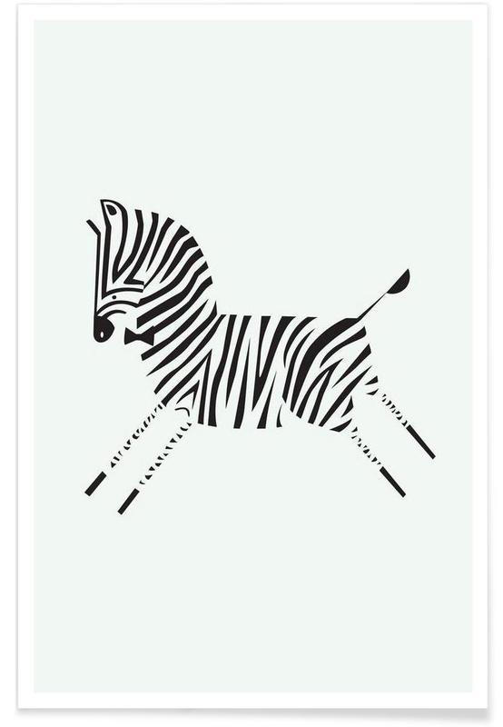 Noir & blanc, Zèbres, Zebra affiche