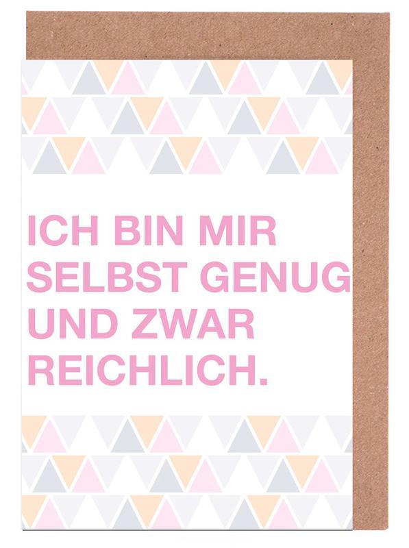 Quotes & Slogans, Selbst Genug Greeting Card Set