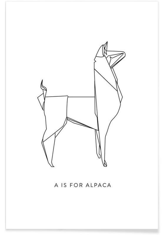 Noir & blanc, Origami d'alpaga affiche